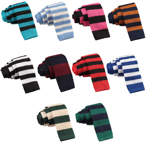 Knitted Striped Skinny Tie in 12 colours