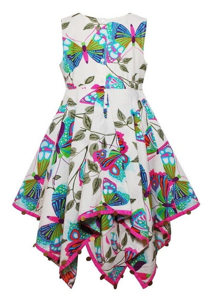 Domino Girl Little Girls Butterfly Print Hanky Dress