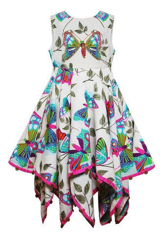 Embellished Butterfly Print Little Girl's Hanky Dress