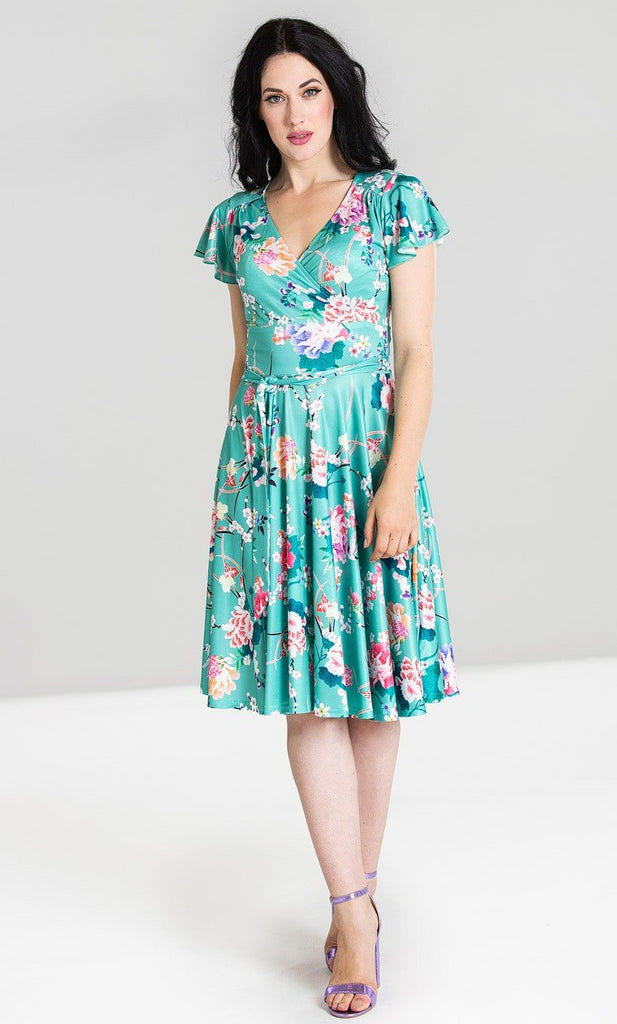 Midori Jersey Wrap Over Dress with Short Sleeves in Mint