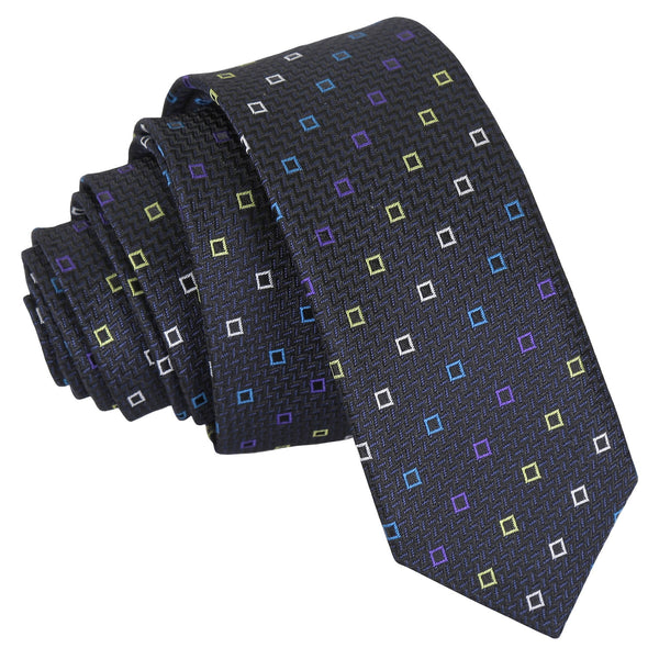 Mini Diamond Geometric Skinny Tie in 4 colours