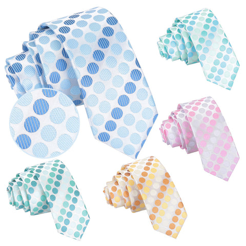 Pastel Polka Dot Skinny Tie in 5 colours