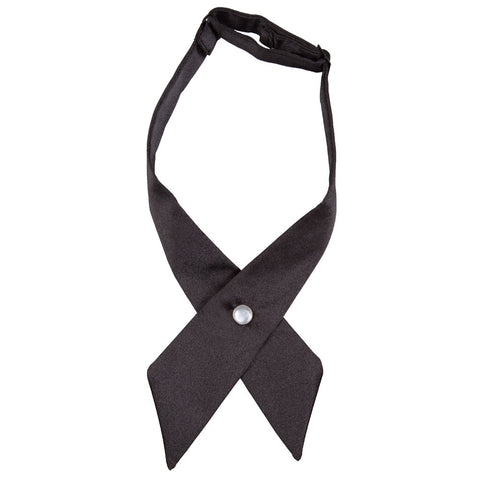 Plain Satin Black Crossover Bow Tie