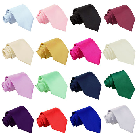 Plain Satin Classic Tie in 33 colours