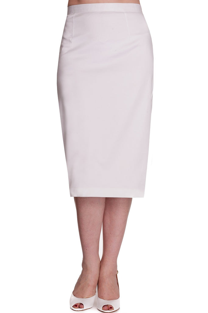 Hell Bunny Frankie Cotton Sateen Pencil Skirt - White