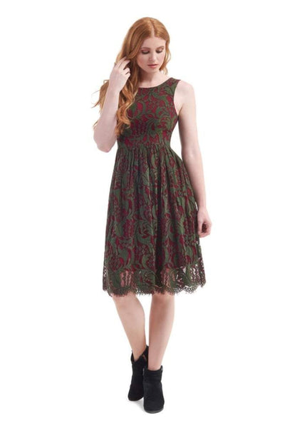 Collectif Burgundy and Green Lace Swing Dress