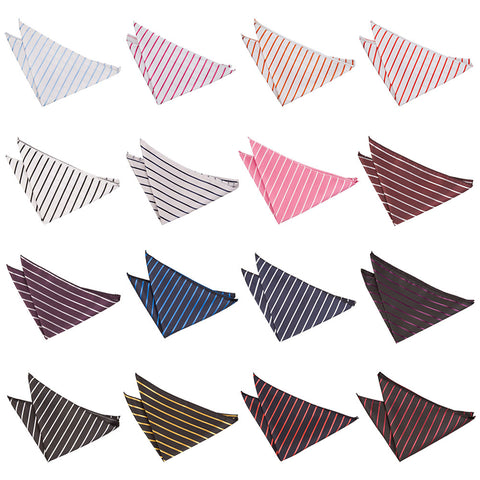 Single Stripe Pocket Square in 16 colours