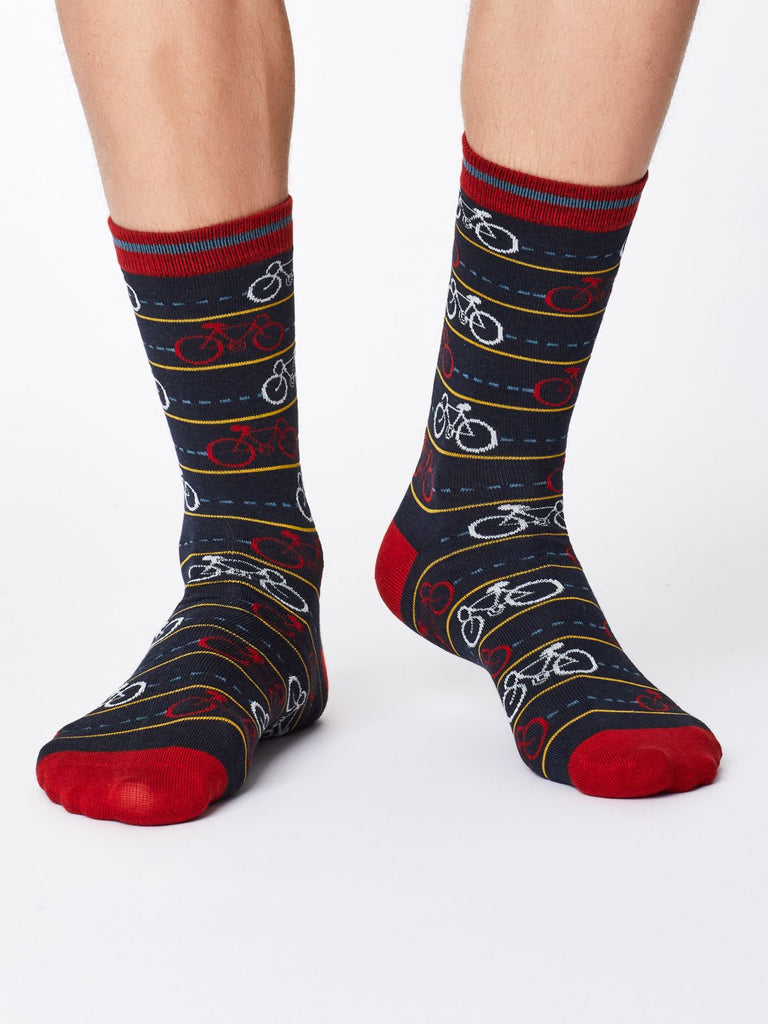 Men's Bamboo Socks - Navy - Cycle Print - Kit'n'Heels