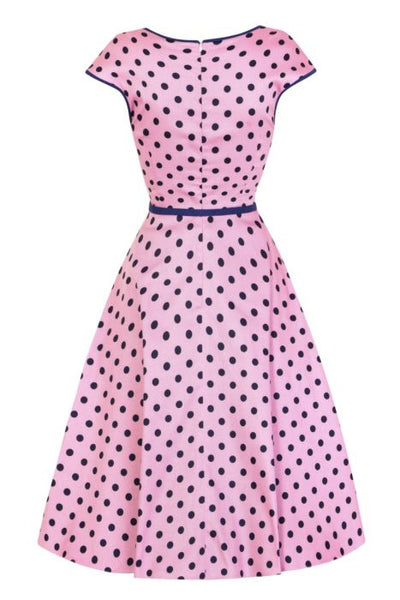 Lady Vintage Isabella Raspberry Polka Dot Sleeveless Tea Dress