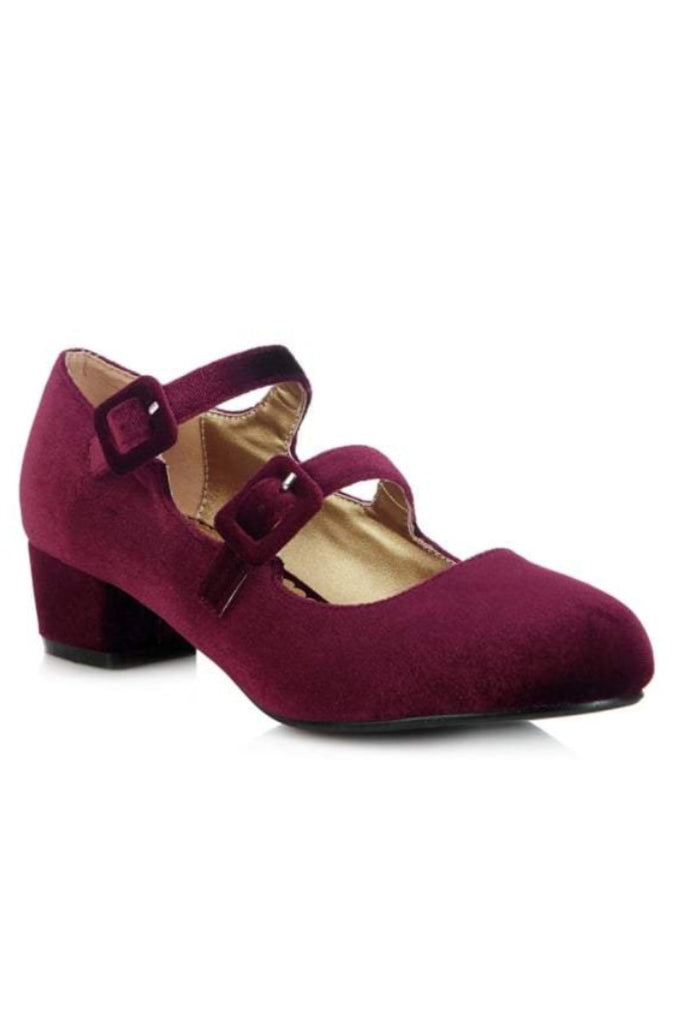 Tamara Block Heel Burgundy - Ladies Fashion Shoes - Kit'n'Heels