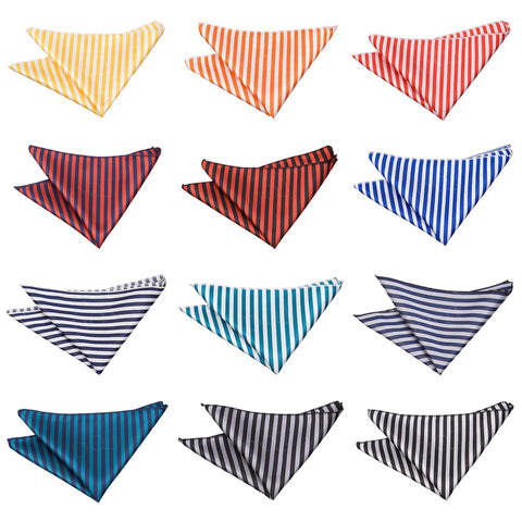 Thin Stripe Pocket Square in 12 colours
