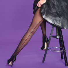 Black Silky Seamer Tights - Kit'n'Heels