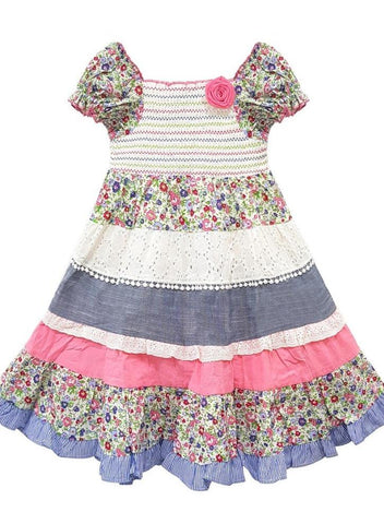 Domino Girl Toddlers Floral Print Lace Trim Gypsy Sun Dress