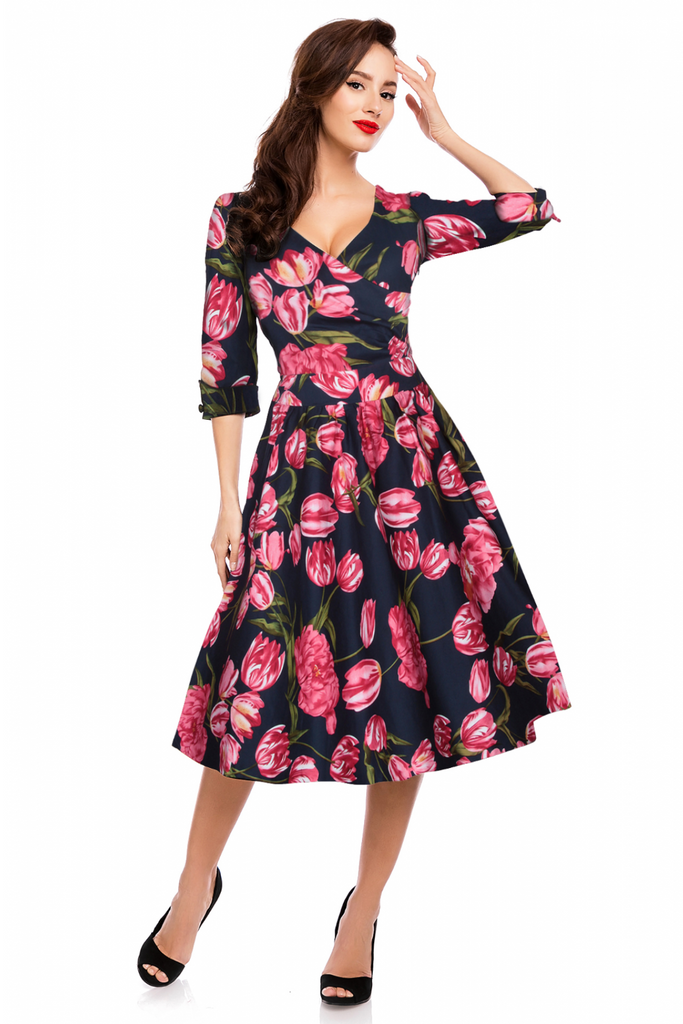 Dolly and Dotty Katherine Swing Dress with 3 quarter length sleeves in Navy - Kit'n'Heels