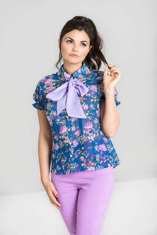 Violetta - Short Sleeved Printed Chiffon Blouse with Detachable Pussy Bow. - Kit'n'Heels