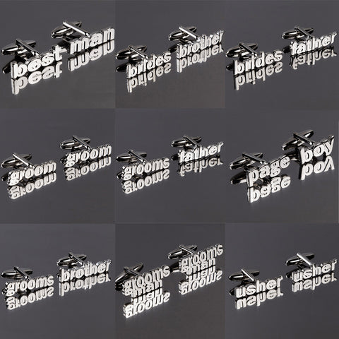 Cut Out Words Wedding Cufflinks in 9 variants