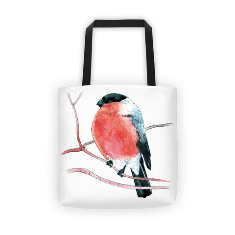 Eurasian bullfinch (Снегирь by Nataly Minchuk) Tote bag - Apedes Flags and Banners