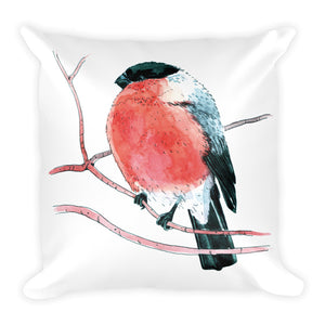 Eurasian bullfinch (Снегирь by Nataly Minchuk) Pillow - Apedes Flags and Banners