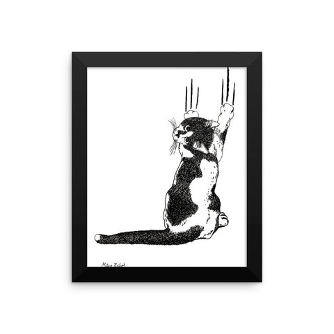 Black & White Cat (by Mitya Pisliak) Framed poster