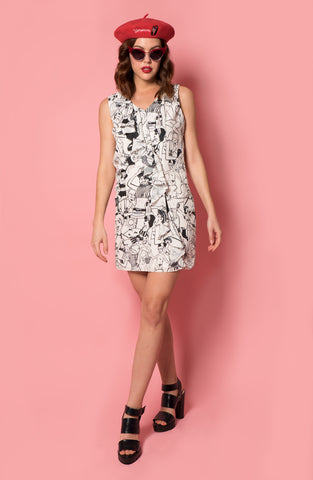 Line Art Print Ruffle Dress