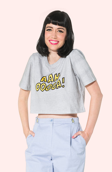 Aah-Oooga Cropped Heather Gray Tee For Women