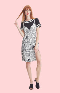 Two-fer Dress w/ Print