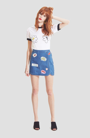 Denim Track Skirt w/ Patches