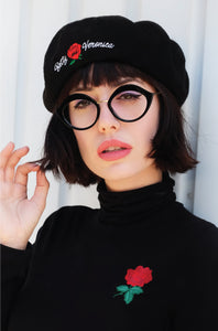 B&V Rose Embroidered Beret