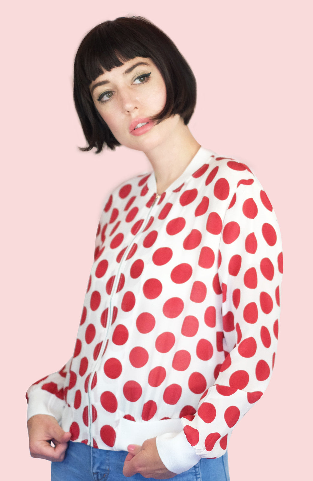 Dotty Silk Bomber Jacket