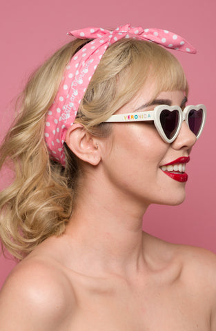 Retro Headscarf - Pink Polka Dot