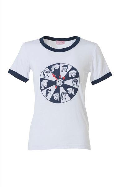 WHEEL OF LOVE TEE- WHITE/NAVY