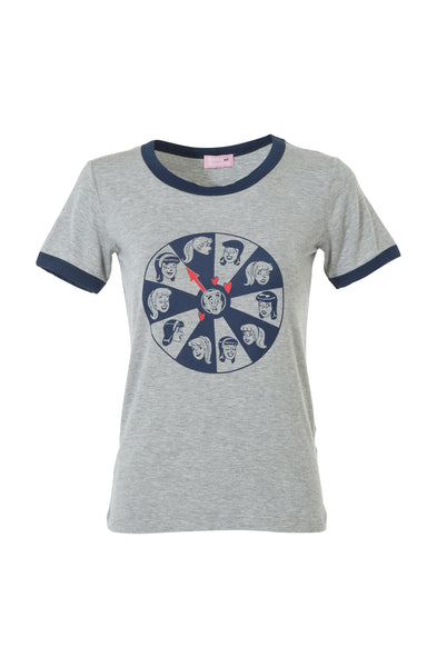 WHEEL OF LOVE TEE- GREY/NAVY
