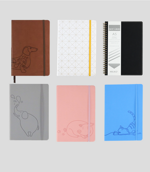 DOT GRID LEATHER COVER 6 NOTEBOOKS SET