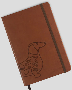 A5 PU Leather Banded Hardcover Dot Grid Notebook(Dachshund)