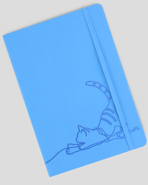 Miliko Blue Cat A5 Soft Touch Cover Banded Notebook(Dot Grid)