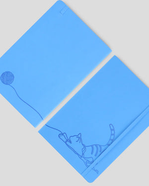 Miliko The Blue Cat A5 Soft Touch Cover Banded Notebook(Ruled)