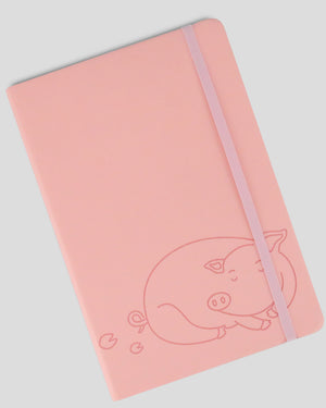 Miliko Pink Piggy A5 SoftTouch Film Cover Banded Notebook(Dot Grid)