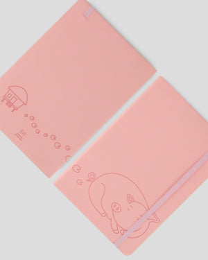 Miliko Pink Piggy A5 SoftTouch Film Cover Banded Notebook(Ruled)