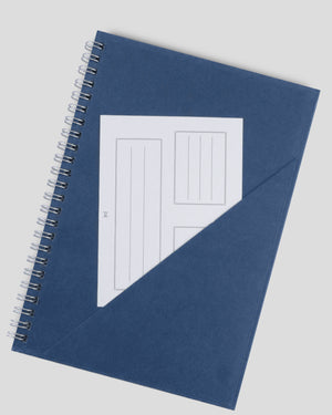 Miliko A5 Size Blue Kraft Paper Hardcover Spiral Notebook Set(Square Grid, Silver Binding Rings)