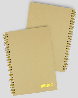 Miliko A5 Size Kraft Paper Hardcover Spiral Notebook Set(Square Grid, Golden Binding Rings)