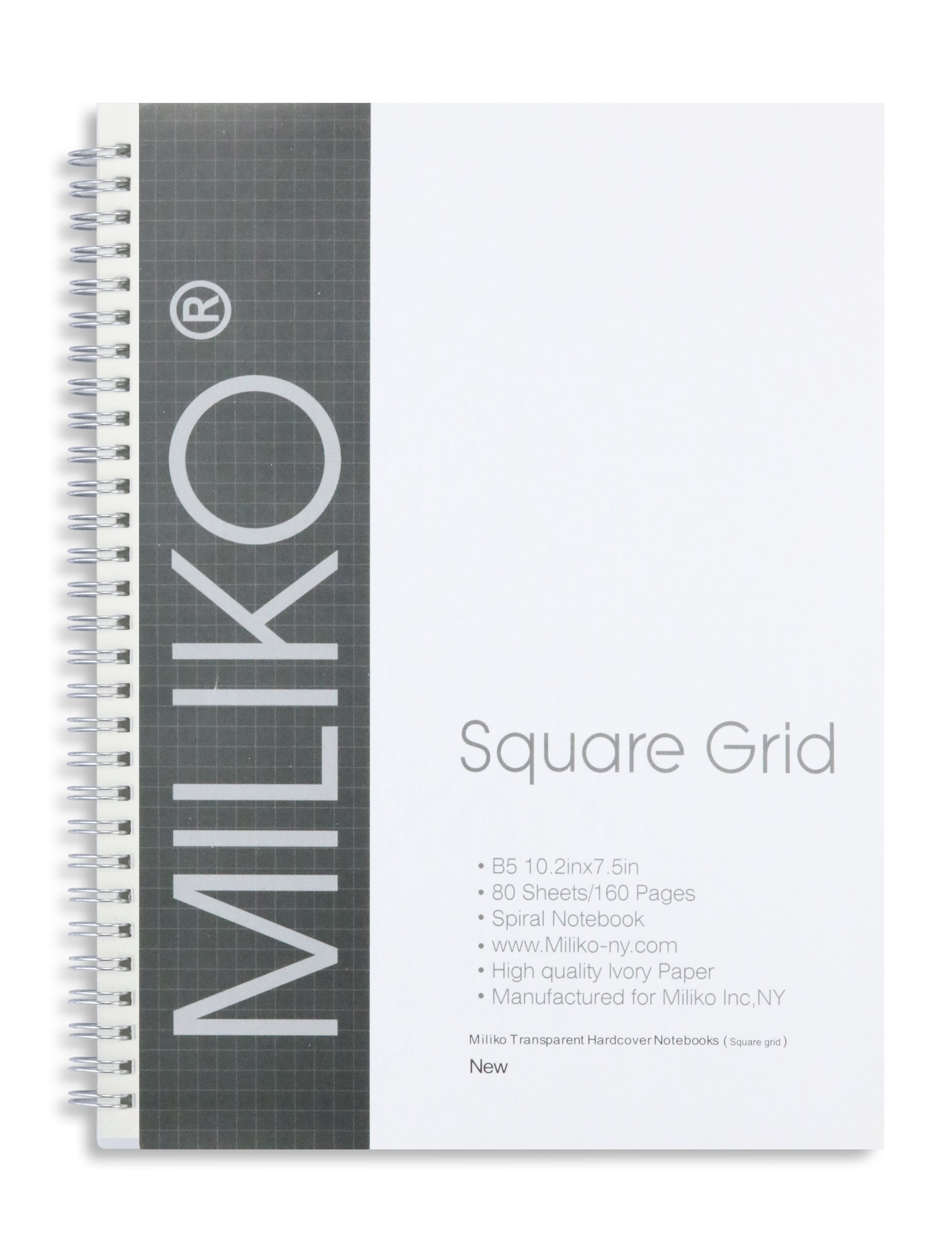 Miliko Transparent Hardcover B5 Square Grid Wirebound Notebook Set