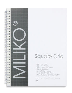 Miliko Transparent Hardcover B5 Square Grid Wirebound Notebook Set - Miliko