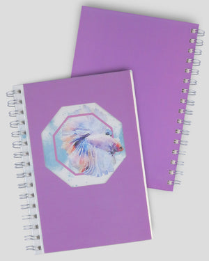 Rumble Fish Collection Violet Polygon Hollow Out Design Cover A5 Dot Grid Spiral Notebook Set