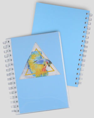 Rumble Fish Collection Blue Triangle Hollow Out Design Cover A5 Dot Grid Spiral Notebook