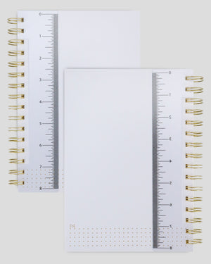 Miliko A5 Hardcover Dot Grid Spiral Notebook with 8 Inches Removable Ruler