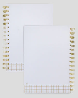 Miliko A5 Hardcover Sqaure Grid Spiral Notebook with 8 Inches Removable Ruler