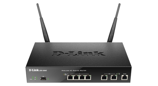 D-Link Unified Wireless AC1200 Services Router, 2 Gigabit WAN Ports, 4 Gigabit LAN Ports, 1 USB 2.0, 1 RJ-45 Console Port, 2 Detachable 2dBi Omni-Directional Antennas, Selectable Dual Band, AES, 802.11 ac/a/b/g/n -- D-Link Limited Lifetime Warranty