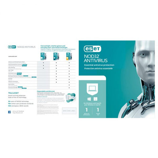Eset NOD32 AntiVirus 1 User - 1 Year License (Sleeve BIL PC/Mac/Linux)