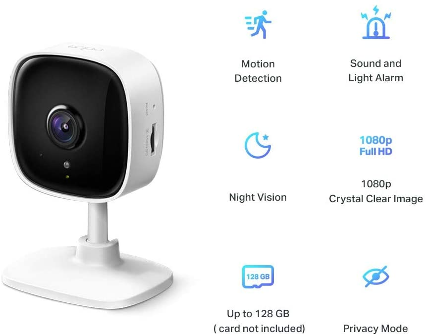 TP-Link Home Security Wi-Fi Camera. HD Video  Records in 1080p. Night Vision for up to 30 ft. Motion Detection and Notifications. Sound and Light Alarm. Two-Way Audio. Locally stores up to 128 GB on a microSD, Works w/Alexa and Google -- 2 Year TP-Link...