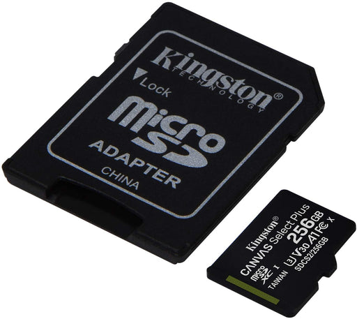 Kingston 256Gb Micro SDXC Canvas Select 100R A1 C10 with SD Adaptor -- Kingston Warranty
